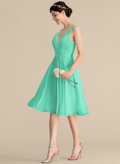 A-Line V-neck Knee-Length Chiffon Lace Cocktail Dress With Ruffle