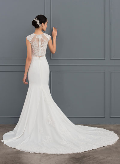 Trumpet/Mermaid Scoop Neck Chapel Train Satin Wedding Dress