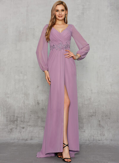 Empire V-neck Sweep Train Chiffon Evening Dress With Beading Split Front