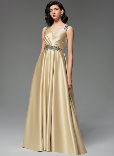 A-Line V-neck Sweep Train Satin Evening Dress With Beading Sequins Pockets