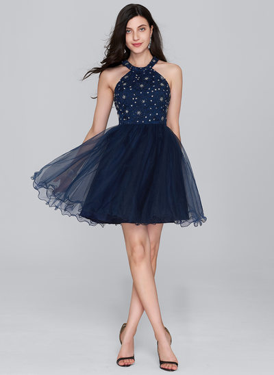 Forme Princesse Col rond Court/Mini Tulle Robe de cocktail avec Brodé Paillettes