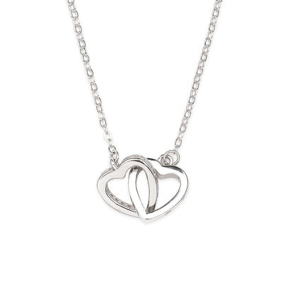 Plata Esterlina Double Collar de corazón