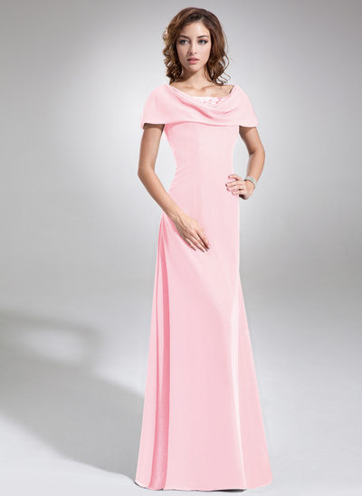 A-Line/Princess Cowl Neck Floor-Length Chiffon Mother of the Bride Dress With Ruffle Beading Sequins