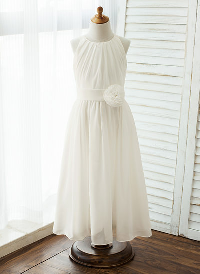 A-Line/Princess Floor-length Flower Girl Dress - Chiffon Sleeveless Scoop Neck With Sash