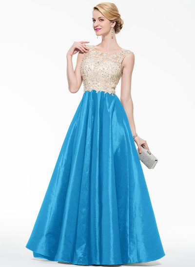 Ball-Gown Scoop Neck Floor-Length Taffeta Tulle Prom Dresses With Beading Appliques Lace Sequins