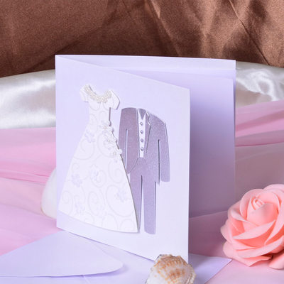 Bride & Groom Style Side Fold Invitation Cards (Set of 50)