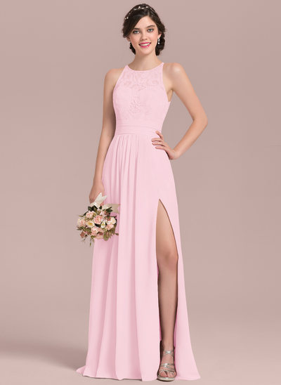 a5354330b94b A-Line Princess Scoop Neck Floor-Length Chiffon Lace Bridesmaid Dress With  Ruffle