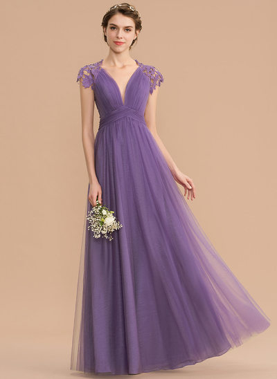 f9047d9ad3ae A-Line V-neck Floor-Length Tulle Lace Bridesmaid Dress With Ruffle New