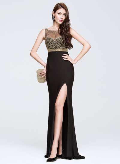 Trumpet/Mermaid Scoop Neck Sweep Train Tulle Prom Dress With Beading Split Front