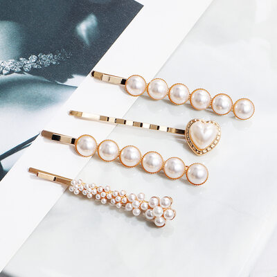 Ladies Imitation Pearls Hairpins (Set of 4)