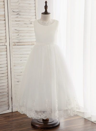 A-Line/Princess Ankle-length Flower Girl Dress - Tulle/Lace Sleeveless Scoop Neck With Back Hole