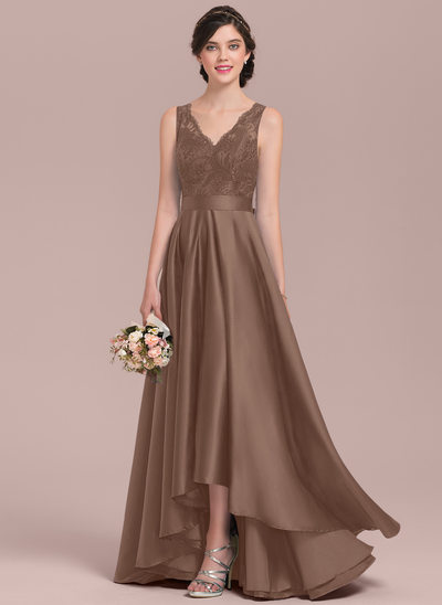 A-Line/Princess V-neck Asymmetrical Satin Lace Prom Dresses With Bow(s)