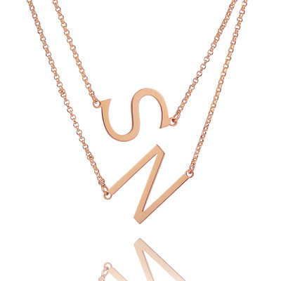 Christmas Gifts For Her - Custom 18k Rose Gold Plated Silver Double Sideways Initial Necklace