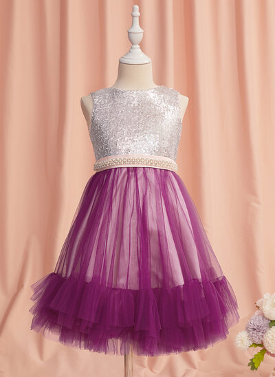 A-Line Knee-length Flower Girl Dress - Tulle/Sequined Sleeveless Scoop Neck With Beading