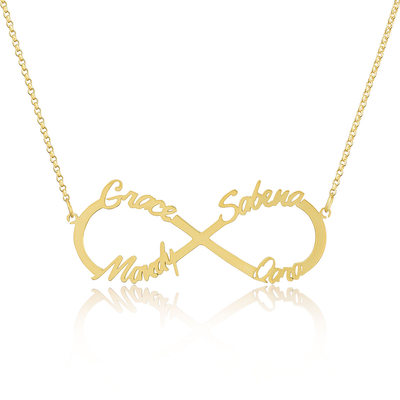 Christmas Gifts For Her - Custom 18k Gold Plated Silver Infinity Four Name Necklace Infinity Name Necklace