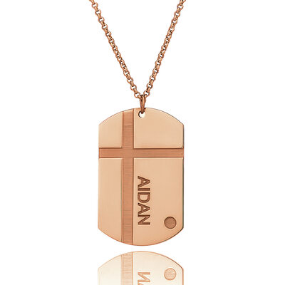 Christmas Gifts For Her - Custom 18k Rose Gold Plated Silver Engraved Necklace Nameplate