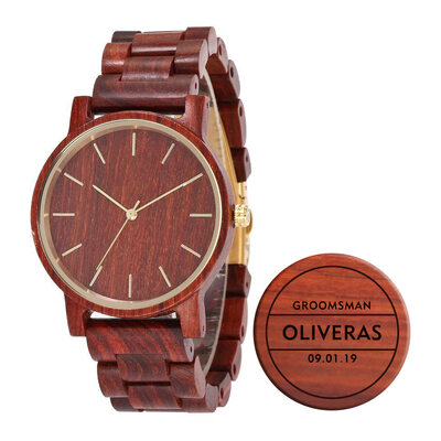 Groomsmen Gifts - Personalized Mens Custom Engraved Red Sandalwood Watches