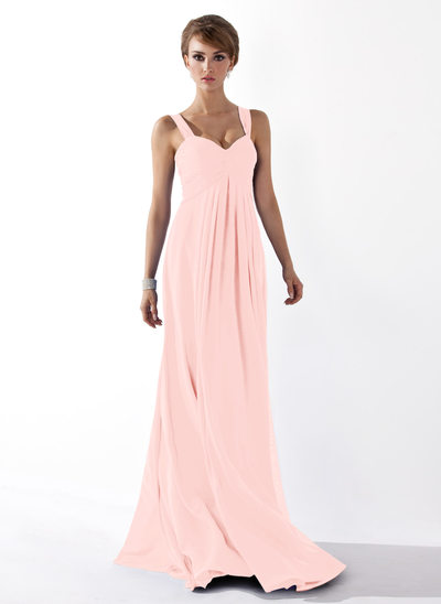 Empire Sweetheart Floor-Length Chiffon Prom Dresses With Ruffle