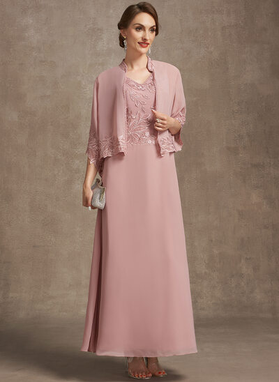 A-Line V-neck Ankle-Length Chiffon Lace Mother of the Bride Dress With Beading Sequins