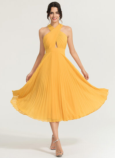 A-Line/Princess V-neck Tea-Length Chiffon Cocktail Dress With Pleated