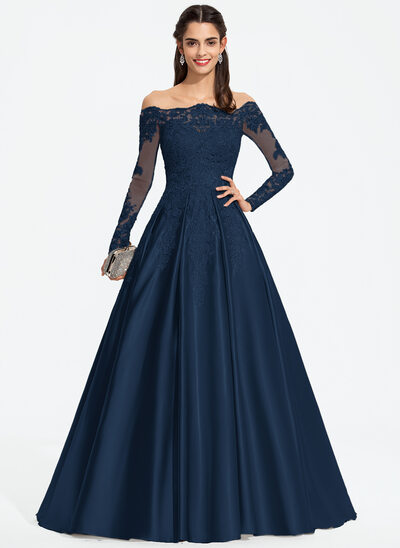 Duchesse-Linie/Princess Off-the-Schulter Sweep/Pinsel zug Satin Ballkleid mit Pailletten