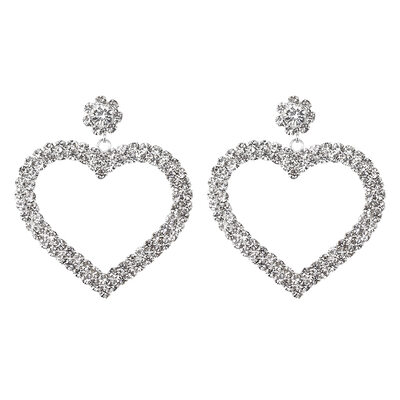 Ladies' Sweet Heart Alloy/Rhinestones Earrings
