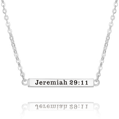 Custom Sterling Silver 3D Simple Bar Necklace Engraved Necklace - Birthday Gifts Mother's Day Gifts