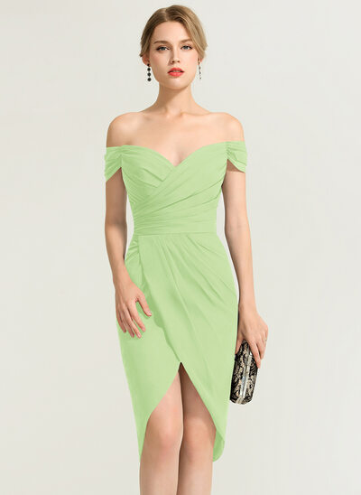 Sheath/Column Off-the-Shoulder Asymmetrical Chiffon Cocktail Dress With Ruffle