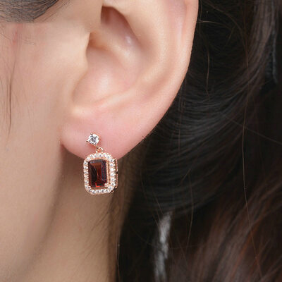Ladies' Unique 925 Sterling Silver/Rose Gold Plated Crystal Earrings For Bride/For Bridesmaid