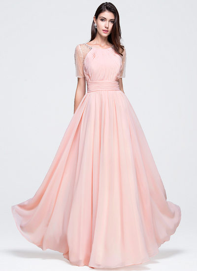 A-Line/Princess Scoop Neck Floor-Length Chiffon Prom Dresses With Ruffle Beading Sequins