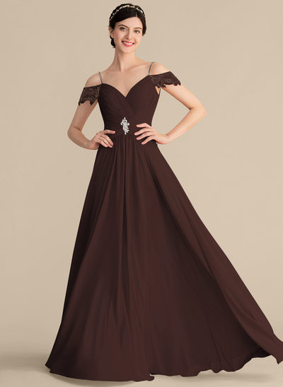 A-Line/Princess Sweetheart Floor-Length Chiffon Bridesmaid Dress With Ruffle Lace Beading