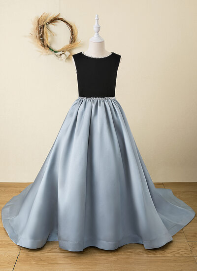 A-Line Floor-length Flower Girl Dress - Velvet Sleeveless Scoop Neck With Rhinestone/Back Hole