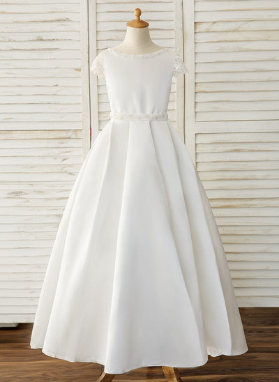 Ball-Gown/Princess Floor-length Flower Girl Dress - Satin/Lace Short Sleeves Scoop Neck With Beading/Bow(s)