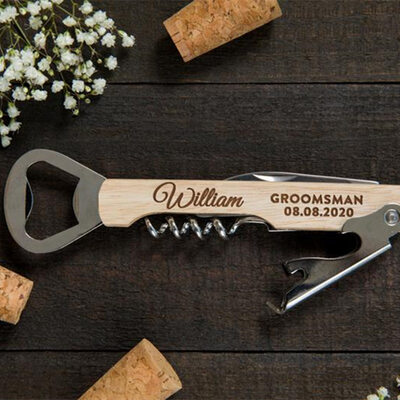 Groomsmen Gifts - Personalized Modern Wooden Bottle Opener Multi-tool
