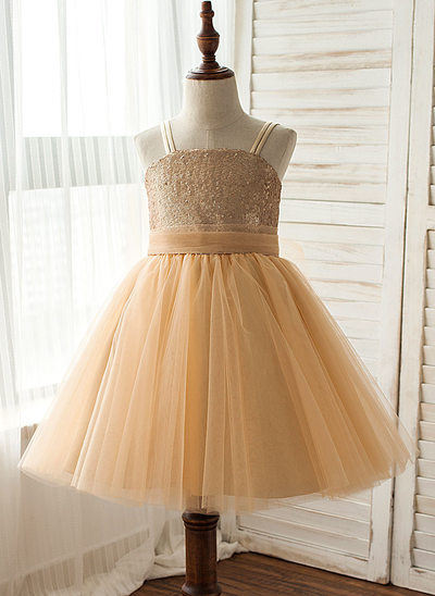 A-Line/Princess Knee-length Flower Girl Dress - Tulle/Sequined Sleeveless Straps With Sequins