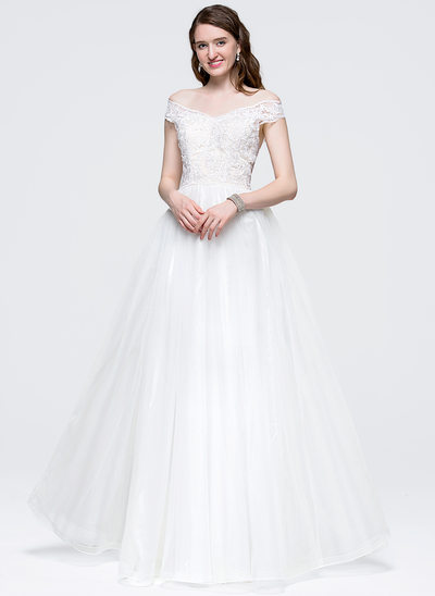 Ball-Gown Off-the-Shoulder Floor-Length Tulle Prom Dress With Bow(s)