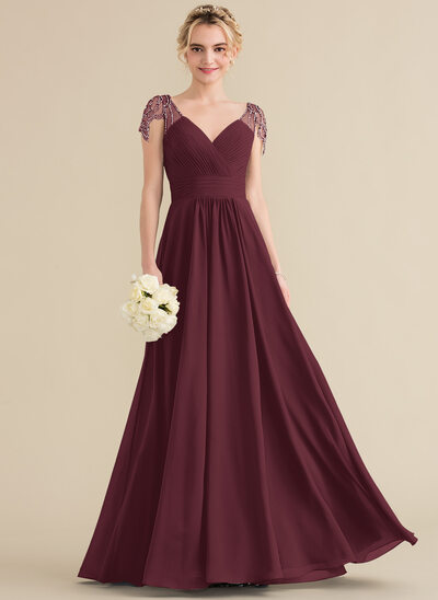 A-Line/Princess V-neck Floor-Length Chiffon Bridesmaid Dress With Ruffle Beading Sequins