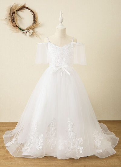 Ball-Gown/Princess Court Train Flower Girl Dress - Satin/Tulle/Lace Short Sleeves V-neck With Rhinestone/V Back