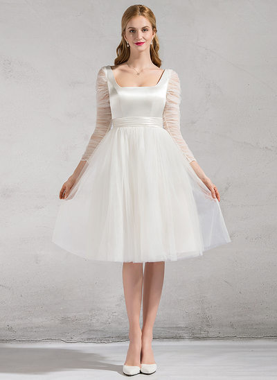 A-Line/Princess Square Neckline Knee-Length Satin Tulle Wedding Dress With Ruffle