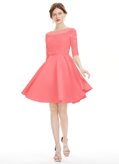 A-Line/Princess Scoop Neck Knee-Length Satin Homecoming Dress With Beading Sequins