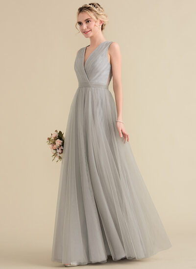 A-Line/Princess V-neck Floor-Length Tulle Lace Prom Dresses With Ruffle