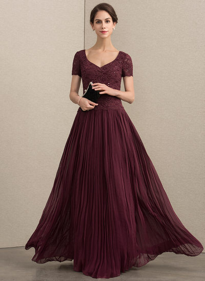 A-Line/Princess V-neck Floor-Length Chiffon Lace Mother of the Bride Dress With Sequins Pleated
