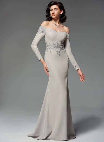 Trumpet/Mermaid Off-the-Shoulder Sweep Train Stretch Crepe Evening Dress With Beading Sequins