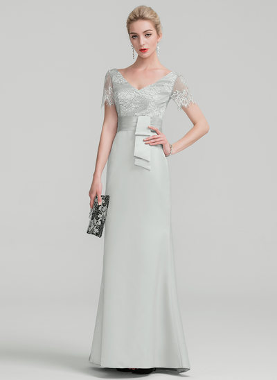Sheath/Column V-neck Floor-Length Satin Evening Dress With Ruffle