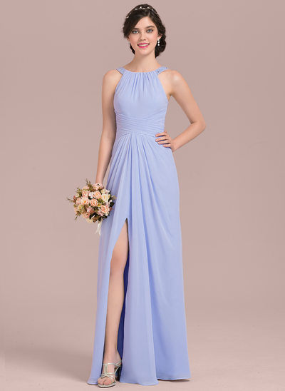 A-Line/Princess Scoop Neck Floor-Length Chiffon Bridesmaid Dress With Ruffle Beading Sequins Split Front
