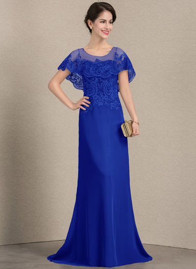 A-Line/Princess Scoop Neck Sweep Train Chiffon Lace Mother of the Bride Dress