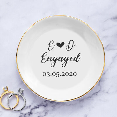 Bride Gifts - Personalized Simple Delicate Ceramics Ring Dish