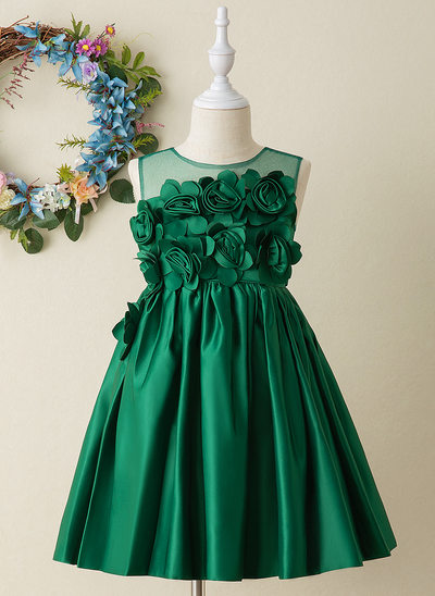 Ball-Gown/Princess Knee-length Flower Girl Dress - Tulle/Lace Sleeveless Scoop Neck With Flower(s)/Bow(s)