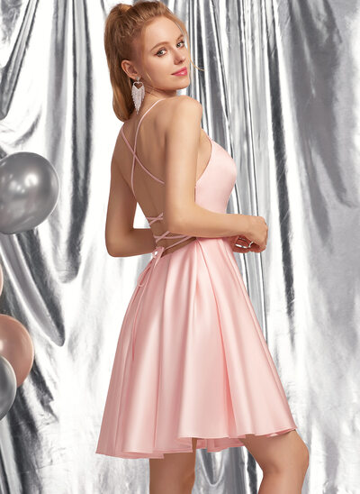 A-Line Square Neckline Short/Mini Satin Prom Dresses