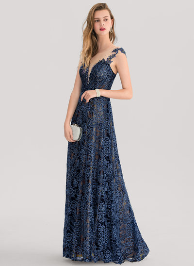 A-Line/Princess Scoop Neck Floor-Length Lace Prom Dress With Beading